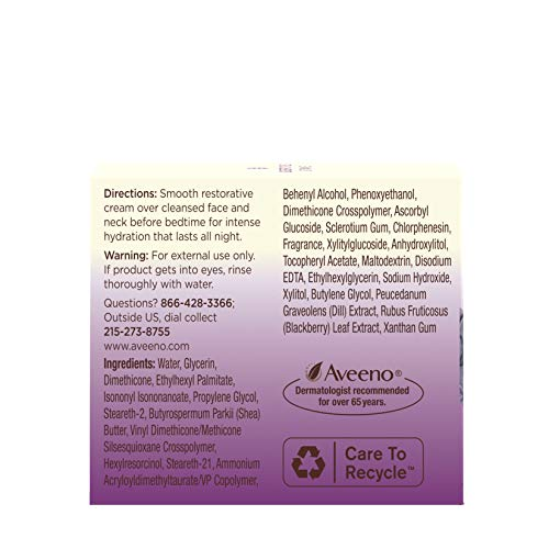 41lYfVg6g4L - Aveeno Absolutely Ageless Restorative Night Cream Facial Moisturizer with Antioxidant-Rich Blackberry Complex, Vitamin C & E, Hypoallergenic, Non-Greasy & Non-Comedogenic, 1.7 fl. oz