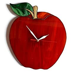 ZangerGlass Large Red Apple Wall Clock 14 by 12 inch, Unique Nature Stained Glass Home Decor for Kitchen or Dining Room