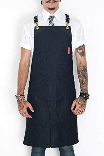 Under NY Sky Cargo Charcoal Blue Apron  Cross-Back with Durable Denim, Leather Reinforcement, Split-Leg  Adjustable for Men and Women  Pro Chef, Barbecue, Barista, Bartender, Tattoo Artist Aprons