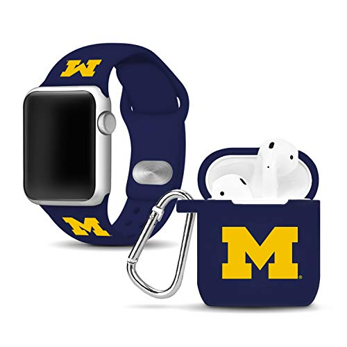 Affinity Bands Michigan Wolverines Silicone Watch Band and Case Cover Combo Compatible with Apple Watch and AirPod -