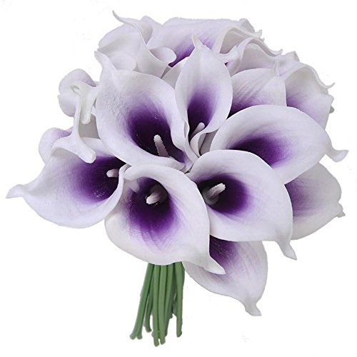 Purple and white flowers amazon kaimao 10 pcs artificial calla lily flower real touch bridal wedding flowers bouquet for home room or birthday garden decoration white purple mightylinksfo