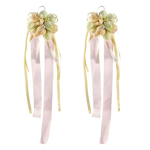 e, Pack of 2 Wedding Bride Girl Bridesmaid Floral Hand Wristband Adjustable Ribbon Rose Bracelets Ceremony Party Prom Flower Decor ()