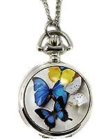 Youyoupifa Beautiful Butterfly Silver Alloy Quartz Chain Pocket Watch (Women's)