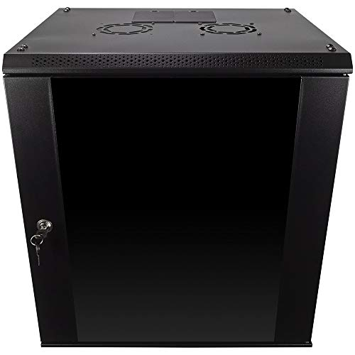 NavePoint 12U Wall Mount Consumer Series Server Cabinet Network Enclosure Locks, Fan ()