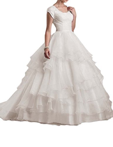 (OYISHA Women's Jewel Ball Gown Wedding Dresses Train with Sleeves Ruffled MX-WD6 Ivory 20W)