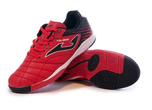 Joma Kids' Toledo Jr ID Indoor Soccer Shoes (13.5 Little Kid, Red/Black)