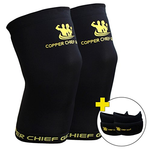 Copper Knee Sleeves (1 Pair) with FREE Patella Knee Braces (1 Pair) - GUARANTEED Best Copper Infused Fit - Compression & Recovery Sleeves - Both Men & Women - by Copper Chief Gear (Large)