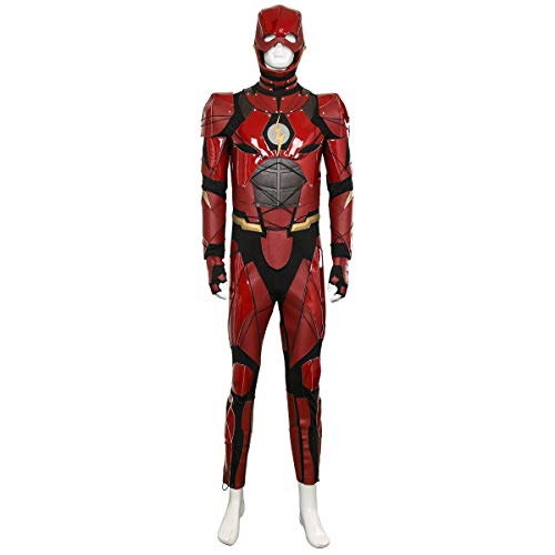 PartyEver Justice Flash Barry Allen Cosplay Costume Halloween Red Leather Suit for Adult -