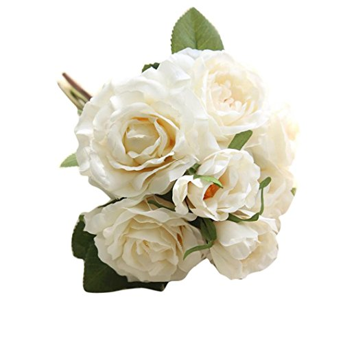 Rose Bouquet,Han Shi Artificial Fake Flowers Wedding Party Home Decor Floral Fake Flowers (S, White)