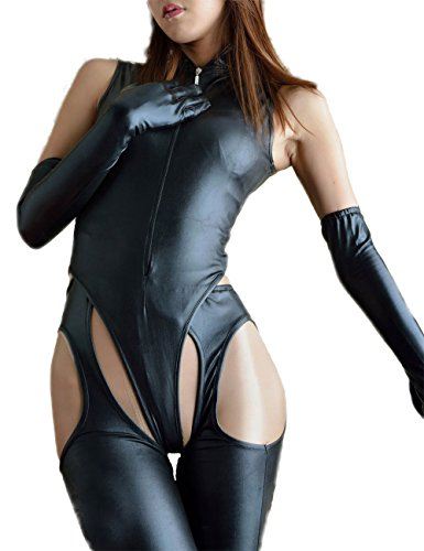Velius Women's Sexy PU Leather Front Zipper Crotchless Cosplay Bodysuit Outfit Lingerie Clubwear (Medium)