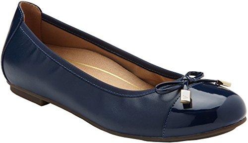 Vionic Womens Minna Ballet Flat, Navy, Size 6.5