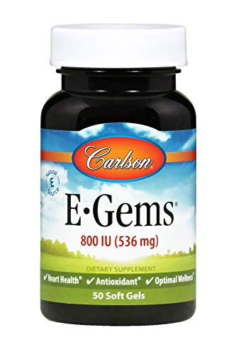 Carlson E-Gems 800 IU, Vitamin E, Heart Health, 50 Soft Gels