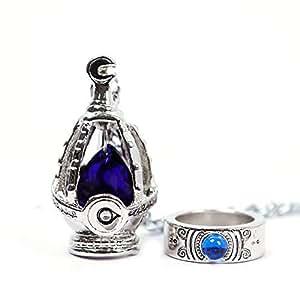 New Puella Magi Madoka Magica Soul Gem Necklace + Ring Cosplay Set Blue