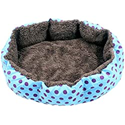 UEETEK Cotton Pet Sofa Bed, Removable and Washable Puppy Kitty Soft Bed Mats, Polka Dot Octagonal Shaped Pet House Nest for Dogs and Cats - Size S (Blue)