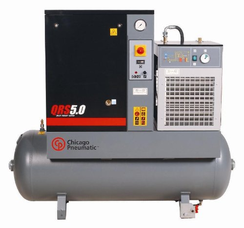 Chicago Pneumatic Quiet Rotary Screw Air Compressor with Dryer - 5 HP, 230 Volts, 1 Phase, Model# QRS5.0HPD-1 -