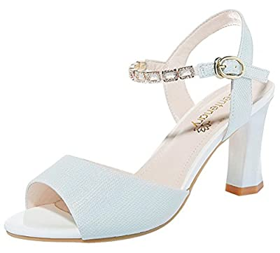 T&Mates Womens Summer Elegant Chunky Heel Peep Toe Ankle Strap Solid Color Sandals
