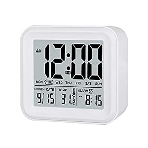 DreamSky Digital Alarm Clock With 3 Set Alarms And Nightlight , Day/Date / Indoor Temperature Disaply , Hustle Free Battery Operated Clocks