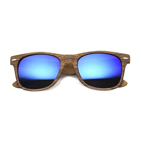 214863b89 Wood Printed Frame Wide Temple Square Colored Mirror Lens Horn Rimmed  Sunglasses 58mm