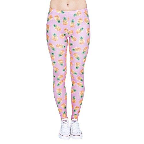 Festie Fever Buttery Soft Printed Pattern Womens Leggings (Pineapple)
