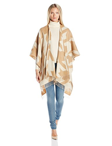Phenix Cashmere Women's Jumbo Houndstooth Merino Wool Jacquard Ruana, Camel/Ivory, One Size by Phenix Cashmere