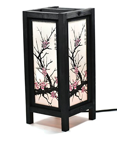 Asian Oriental Japanese Bamboo Tree Sunset Bedside Table Lamp Wood Shade
