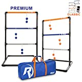 Premium Ladder Ball Toss Game for Adults, Kids, Family - Outdoor Ladders Set with Canvas Bag, Resin Bolos, and Thick PVC Piping - Backyard Games, Activities for Parties - Pro Series
