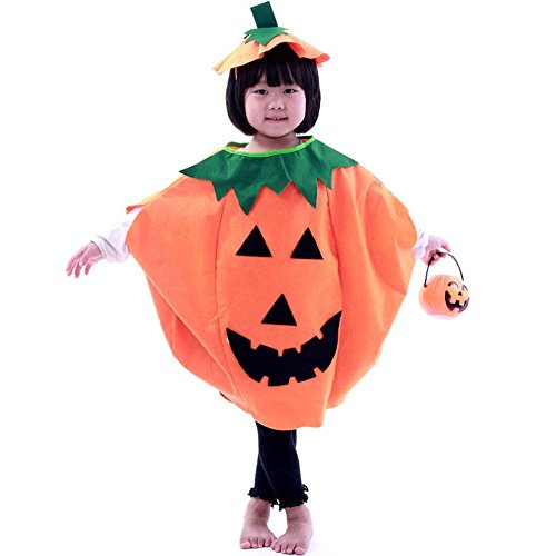 Halloween Orange Pumpkin Unisex Costume Suit with A Hat for Children Kids Adult Party Clothing (Small/Length (Fat Halloween Witch)