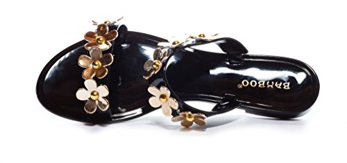 Flowers Jelly Sandal Flat Bamboo With Emblems Womens Black Slide 6YT4nqWOnF