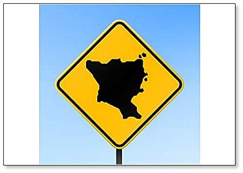 Green Island, Taiwan Map on Road Sign Illustration Fridge Magnet