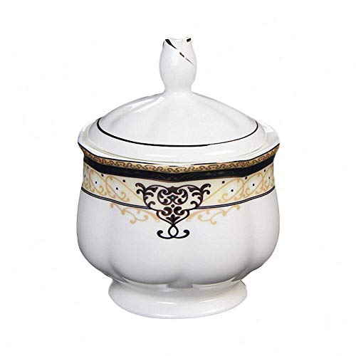 Countryside White Creamer - Retro Royal Style Ceramic Sugar Bowl Salt Bone China Spice Pot Pepper Storage Jar Seasoning Pot Container Condiment Box with Lid for Home Kitchen, 6 Oz, White