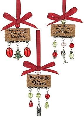 Amazon Com Ganz Witty Wine Corks Beaded 3 5 Inch Christmas