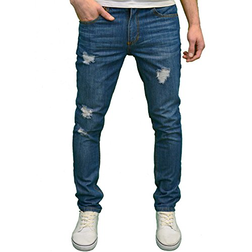 Soulstar Mens Designer Ripped Straight Leg Slim Fit Jeans, Available in 4 Colours (32W x 32L, - Jeans Blue Star