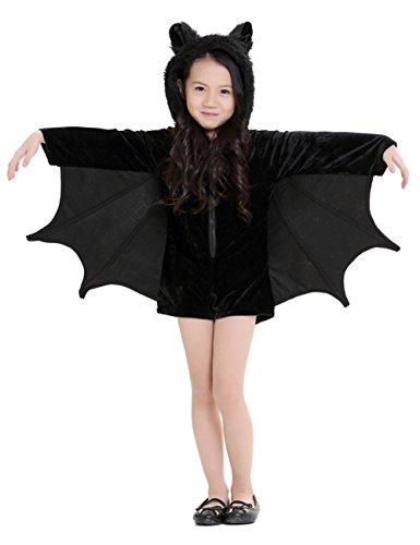 Hamour Girls' Kids Halloween Bat Costume Hooded Romper Cape,Black,S(120-135) - Bat Costumes Girl