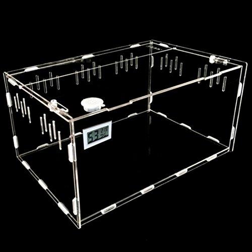 Petforu Aquarium Breeding Tank Acrylic Reptile Feeding Box with Temperature Hygrometer (Small) by Petforu