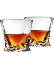 Cooko Twist Whiskey Glasses,Ultra-Clarity Glass set,Dishwasher Safe,Wine Gifts ,Set of 2 (300ML/10.6 oz)