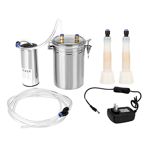 Electric Milking Machine,2L Stainless Steel Portable Vacuum-Pulse Pump Milking Machine for Dairy Homestead(Cow)