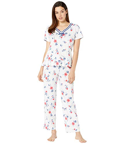 Carole Hochman Women's Short Sleeve Long Pajama Set Red Floral X-Large ()