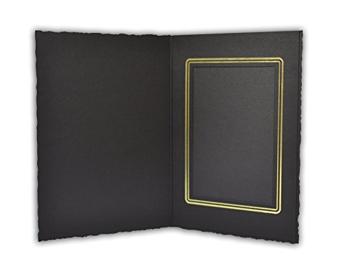 Golden State Art, Black Cardboard Photo Folder For a 3.5x5 Photo - 50 Pack by Golden State Art