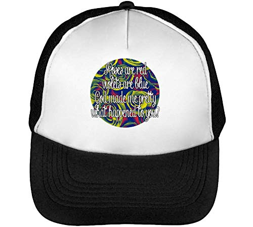 God Made Pretty What Happened To You Slogan Gorras Hombre Snapback Beisbol Negro Blanco