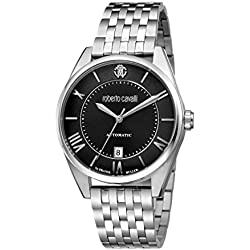 Roberto Cavalli by Franck Muller Men's 'CLASSIC' Swiss Automatic Stainless Steel Casual Watch, Color:Silver-Toned (Model: RV1G013M0076)