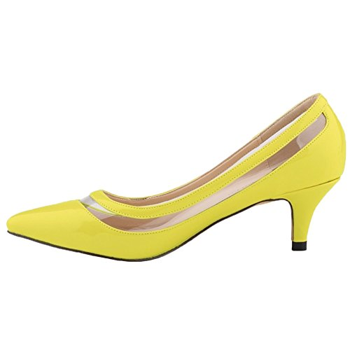 HooH Women's Kitten Heel Transparent Pointed Toe Work Dress Pumps Lemon