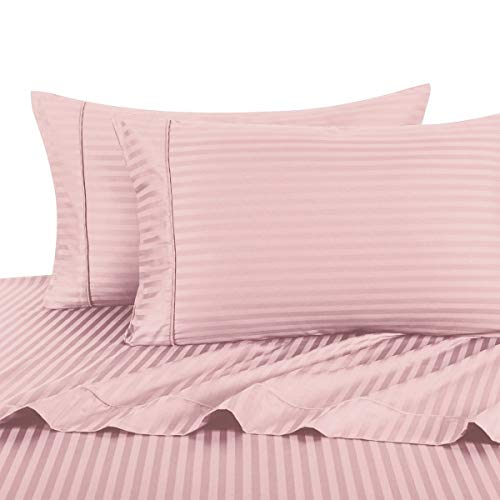 (Stripe Pink Twin-Extra-Long Size Sheets, 3PC Bed Sheet Set, 100% Cotton, 300 Thread Count, Sateen Striped, Deep Pocket, Deep Pocket, by Royal Hotel)