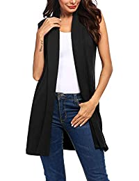 Womens Long Vests Sleeveless Draped Lightweight Open Front Cardigan Layering Vest with Side Pockets