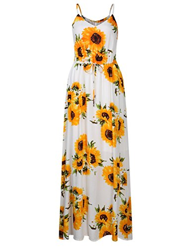 Leadingstar Women Strap Floral Travel Vacation Maxi Dress (White Sunflower, S)]()
