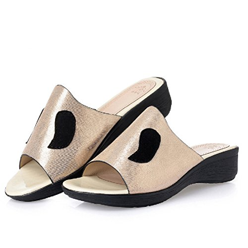 Womens Comfortable Wedge Sandals Summer Anti-Slip Slide Golden qH2DW