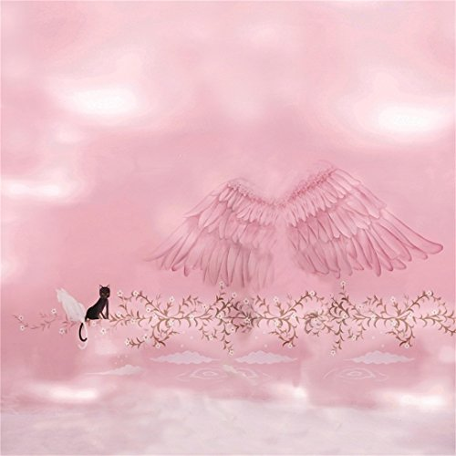 AOFOTO 6x6ft Sweet Angel Wings Backdrop Dreamy Abstract Wonderland Photography Background Feather Cartoon Painted Cats Vine Florets Sky Cloud Child Baby Girl Portrait Photo Studio Props Wallpaper