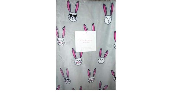 Isaac Mizrahi Throw Blanket Plush Fleece Bunny Rabbit Gray Pink Rabbits *LAST 2*
