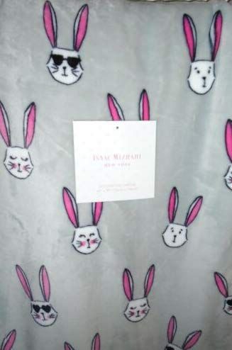 Isaac Mizrahi Bunny Throw Blanket Soft Plush Fleece Gray Pink Rabbits