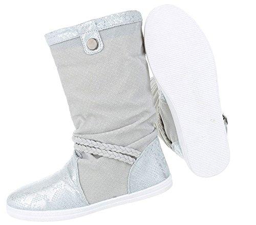 Stiefelette Flache sportliche Optik Stiefel Kroko Sneaker Stiefel Trendy Halbschaft Leder Boots Silber Damen Schlupfstiefel Schuhcity24 Bequeme Schaft Optik qxA7wn