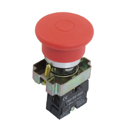 - uxcell 22mm NC Red Mushroom Emergency Stop Switch 600V 10A ZB2-BE102C
